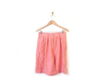 BTS SALE Vintage 90s Silk SALMON Pink High Waist Sheer Shorts m l