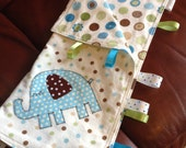 READY TO SHIP - Baby Boy Lovey Blanket - Ribbons Tags Baby Blanket - Aqua Sage Brown White Lovie - Elephant Baby Lovey - Security Blanky