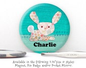 Personalized Bunny Rabbit Pin Badge, Magnet or Pocket Mirror - New Baby Announcement Magnet