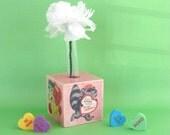 Valentines Theme Bud Vase - Retro Valentine Home decoration - Square Block Bud Vase - Decoupaged Valentines Day Wood Block