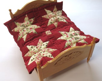 Dollhouse Miniature Patchwork Quilt in 12th Scale - Cream and Red Stars
