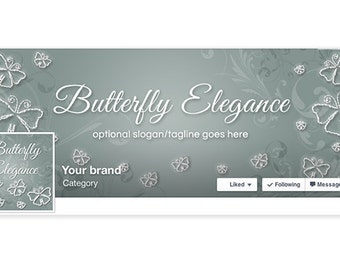 SALE 30% OFF Facebook Banner Sets - Facebook CoversTimeline Cover & Profile Picture - Social Media Cover - Butterfly Elegance