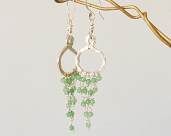 Aventurine  925 Silver Hoop Chandelier Dangle Earrings