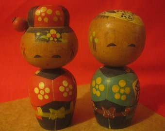 Vintage Miniature Kokeshi Couple