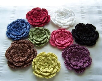Crocheted flower 3 inch cotton set of 9 rainbow colors #3