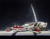 Unicorn Skull and Strawberries - original painting by Kellie Marian Hill