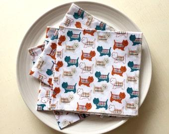 Cloth reusable Table Napkins - Scottie Dog Cuteness - set of 4 - Cotton