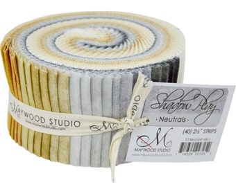 """Maywood Studio Shadow Play Neutrals - 40 strips 2.5"""" wide - 100% Cotton Fabric Jelly Roll Sushi Roll Strips"""