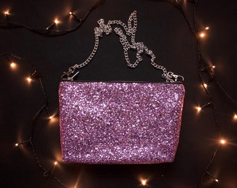 Flamingo pink glitter party bag, sparkle clutch, going out purse