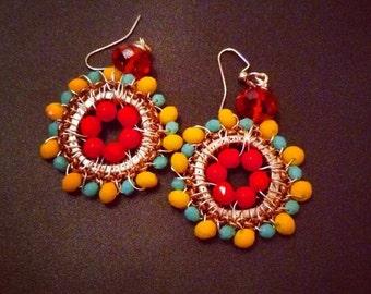 """Wire wrapped czech glass earrings 2"""" diameter"""