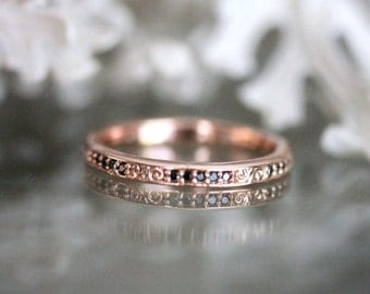 Vintage Inspired Black Diamond Eternity Ring, 14K Rose Gold Ring, Wedding Band, Stacking Ring, Engagement Ring, Eco Friendly - Made To Order