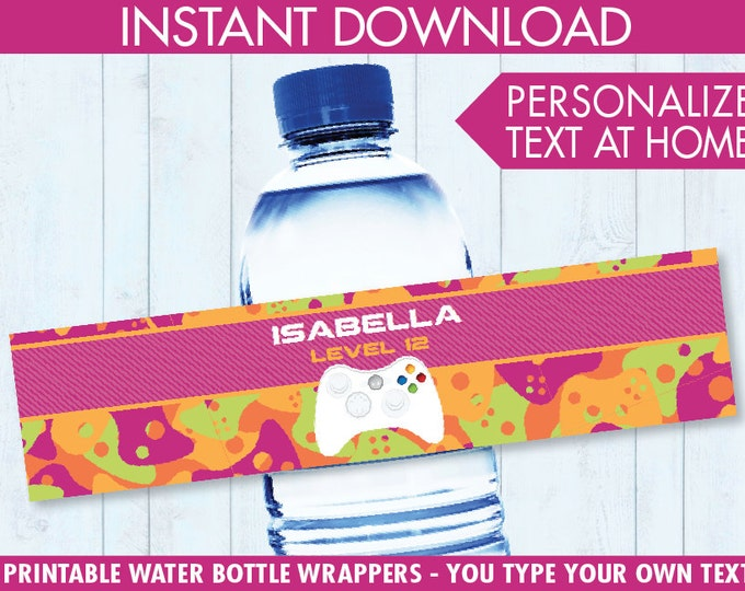 Video Game Party Water Bottle Labels or Wrappers - Video Game Drink Labels, Video Game Birthday, Girl Camo - INSTANT Download Printable PDFs
