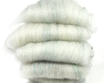 Shetland Light Grey Mulberry Silk Spinning Batts - 5 ounces