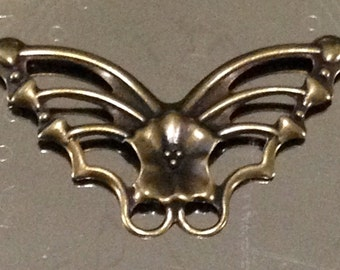 Brass butterfly filigree charms connectors