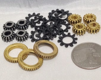 Silver gold and black gear cog beads charms