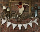 Embroidered WELCOME shabby chic pennet banner