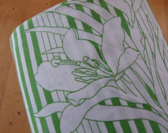Green Stripes and White Flowers - Vintage Flat Bedsheet