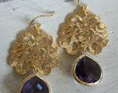 Amethyst Baroque (handmade beaded earrings)