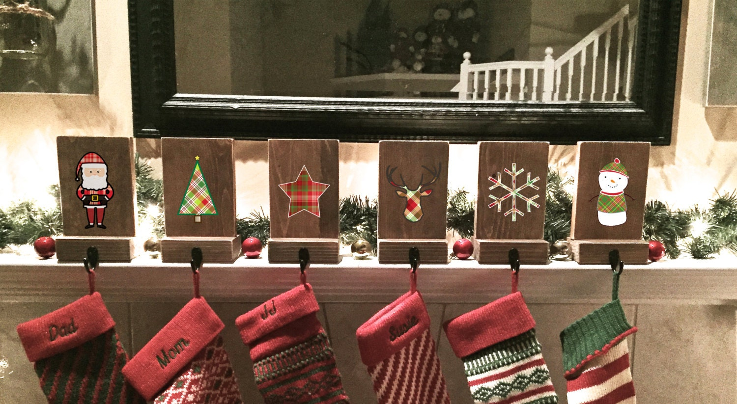 Stocking holders mantle stockings reclaimed wood set of