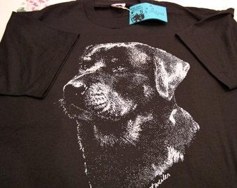 Beautiful Black & White Rottweiler Dog Tee Shirt - Rottie T-Shirt