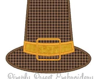 Pilgrim Hat Machine Embroidery Applique Design