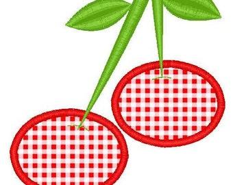 Cherries Applique Machine Embroidery Design Single