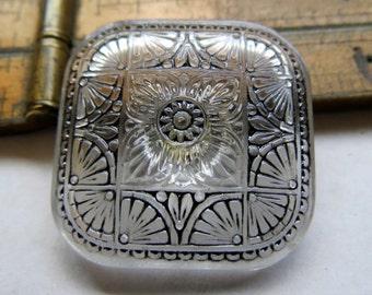 NEW .  Czech Art Glass Button, Handpainted Bohemian Glass (1 button) 33 mm