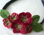 Spring Romance Ume Elastic Headband/Necklace for Women- Burgundy (Made-to-Order)