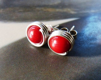 Red coral earstuds, silver post earrings, handmade natural jewelry, Chirstmas gift, red studs, everyday wear, casual earrings, gift for mom