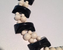 Black and Ivory Double Strand Choker Molded Beads Goth