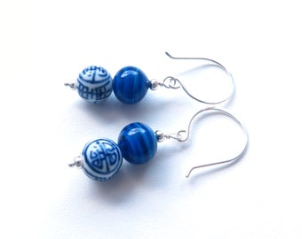 Chinois Chinese motif Glass and Setrling Silver Lazuli Blue and White Beaded Earrings australain handmade jewellery