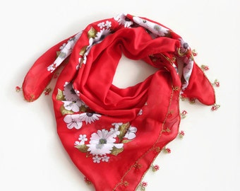 Red Floral Printed Scarf, Boho Fashion Cheesecloth Scarf, Bohemian Bandana Turban, Muslin Authentic Scarf, Tatting Lace Trim,  OOAK