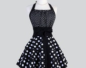 Flirty Chic Apron - Black and White Polka Dots Three Layer Flirty Skirt Cute and Sexy Retro Womens Apron