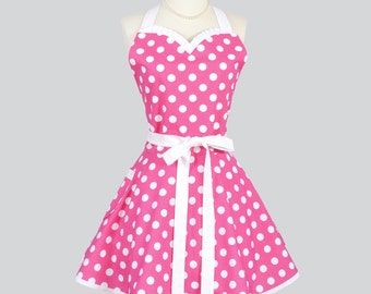 Sweetheart Retro Womans Apron - Flirty Cute Vintage Pink and White Polka Dot Handmade Full Cute Hostess Kitchen Cooking Womens Aprons
