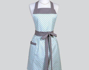 Full Womens Aprons - Cute Vintage Kitchen Cooking Womans Apron in Modern Teal Blue and Taupe Polka Dot Retro Chef Apron Personalize