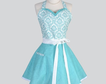 Sweetheart Retro Apron / Aqua and White Damask and Aqua Swirls a Cute Full Kitchen Womens Apron Gift for Her with Personalized Monogram