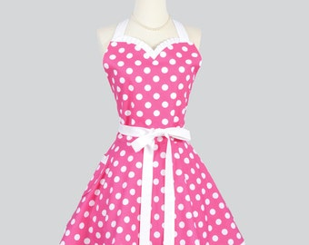 Sweetheart Retro Apron - Vintage Womens Apron Bright Pink and White Polka Dot Cute Apron Full Kitchen Apron