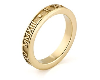 Stackable Raised Roman Numeral Ring in 14K Gold | Stacking Rings
