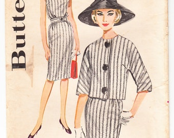 Vintage 1962 Butterick 2308 Sewing Pattern Misses' Dress and Jacket Size 16 Bust 36