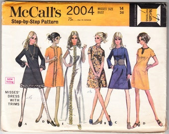 Vintage 1969 McCall's 2004 UNCUT Sewing Pattern Misses' Dress With Trims Size 14 Bust 36