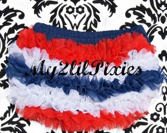 Sale Ready To Ship Chiffon Ruffle Bum Baby Bloomers, Patriotic Bloomer 4th of July - Baby Bloomers Diaper cover Bloomer Nb 0 3 6 9 12 18 24