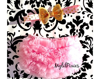 Bloomers and Headband -Baby Girl Headband and Ruffle Bum Bloomer Set. Pink Baby Bloomers, Diaper Cover ,Pink and Gold set - ready to ship