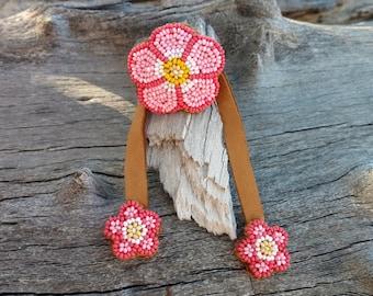 Flower Ponytail Tie By Desi, Beaded, Beadwork, Coral Pink Hair Jewelry, Regalia, Tribal, Ceremonial, Wedding Wear, Aztec, Boho Fancy, Powwow