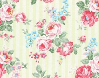 Princess Rose 2015  Large Roses Cotton Fabric Lecien 31264-50 Green Stripe