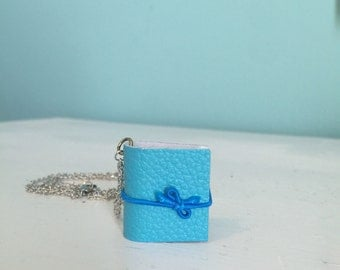 Mini Poetry Blue Book Necklace