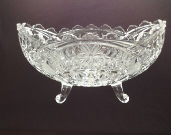 Vintage Clear Pressed Glass Ambrosia Bowl Footed Scalloped Center Piece Fruit Flower