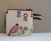 CARD purse zipper pouch in woodland jacquard with bird and owls