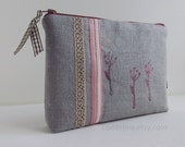 XL zipper POUCH dove grey linen canvas with pink screen print embroidery lace and ribbons
