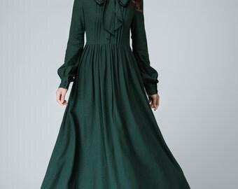 shirt dress, linen shirt dress,  jade green dress, Dark jade linen dress,dress with sleeves, maxi dress plus size,  prom dress long 1455