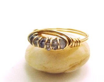 Tanzanite Ring-Wire Wrapped Ring-Gold Fill Ring-adoniajewelry